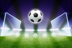 Soccer ball, stadium, spotlights Royalty Free Stock Photo