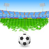 Soccer ball on stadium Stock Images