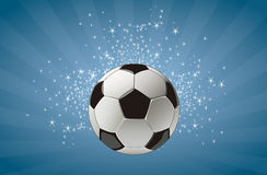 Soccer ball in starry sky Stock Photo