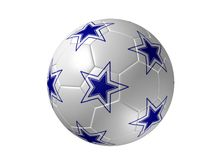 Soccer ball with stars, isolated blue Stock Photography