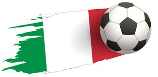 Soccer ball strike flight against background of italy flag Stock Images