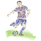 Soccer ball striker painted in the style of skech.Vector Royalty Free Stock Image