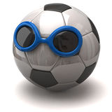 Soccer ball with sunglasses Stock Photo