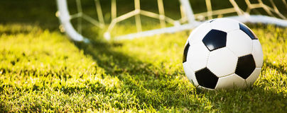 Soccer ball in sunlight. Soccer ball on green grass in sunlight Stock Photo