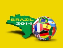 Soccer Ball with Team Flags and Brazilian Map Stock Images