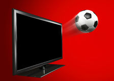 Soccer Ball and Television. The soccer ball moving out of tv screen stock illustration
