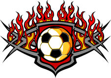Soccer Ball Template with Flames Image. Graphic Soccer Ball Image Template with Flames royalty free illustration