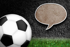 Soccer ball with text bubble. Royalty Free Stock Images