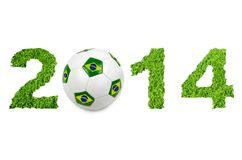 2014 soccer ball. 2014 text with soccer ball on white Royalty Free Stock Photos
