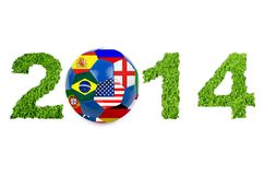 Soccer ball. 2014 text with soccer ball on white royalty free illustration