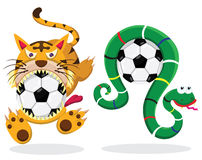 Soccer Ball with Tiger and Snake Stock Photos
