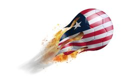 Flying Flaming Soccer Ball with Liberia Flag. Soccer ball with a trail of smoke and flames flying through the air with flags from countries of the world Royalty Free Stock Photo