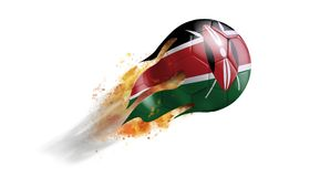 Flying Flaming Soccer Ball with Kenya Flag. Soccer ball with a trail of smoke and flames flying through the air with flags from countries of the world Stock Photos