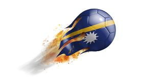 Flying Flaming Soccer Ball with Nauru Flag. Soccer ball with a trail of smoke and flames flying through the air with flags from countries of the world Royalty Free Stock Photos