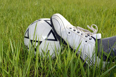 The soccer ball is trapped leg. Around grass Royalty Free Stock Photos