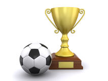 Soccer ball and a trophy. Soccer ball and a champion's trophy on a white background (3d render&#x29 Stock Photos
