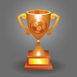 Soccer ball trophy bronze cup bacground Royalty Free Stock Photos