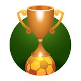 Soccer ball trophy bronze cup Royalty Free Stock Images