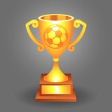 Soccer ball trophy gold cup bacground Stock Photos