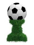 Soccer ball trophy on green grass pedestal. Isolated on white. High resolution 3D image royalty free stock photography