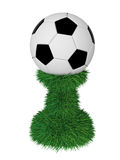 Soccer ball trophy on green grass pedestal. Isolated on white. High resolution 3D image Royalty Free Stock Photos