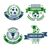 Soccer ball and trophy icon for football sport bar Royalty Free Stock Photos