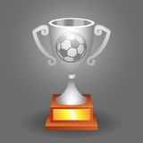 Soccer ball trophy silver cup bacground Royalty Free Stock Images