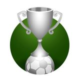 Soccer ball trophy silver cup Stock Photography