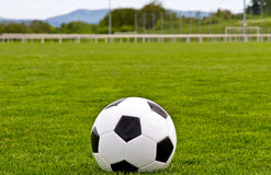 Soccer ball on turf Royalty Free Stock Photo