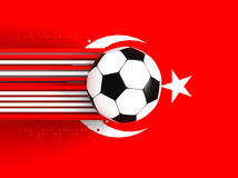 Soccer ball on Turkish flag Royalty Free Stock Photo