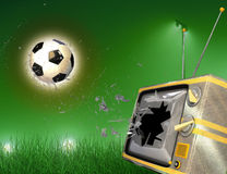 Soccer ball and tv Stock Photography