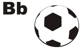 Soccer ball and letters. Soccer ball with two black letters b Royalty Free Illustration