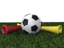 Soccer ball with two vuvuzela Royalty Free Stock Photography