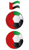 Soccer ball of UAE with flying Flag Stock Photos