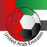 Soccer ball of UAE with UAE Flag. A soccer ball with UAE color scheme and UAE flag as background. vector file Stock Photo