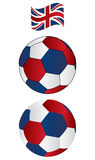 Soccer ball of UK with flying Flag Royalty Free Stock Image