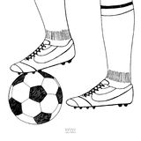 Soccer ball under player boot. Hand drawn sketch. Black line on white background. Sport collection vector illustration royalty free illustration