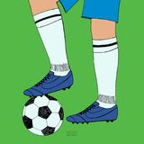 Soccer ball under player feet on green background. Hand drawn color sketch. Sport collection color vector illustration stock illustration