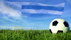 Soccer ball with uruguay flag for sport event team Stock Photography