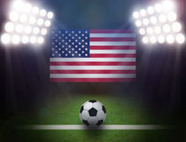 Soccer Ball with USA flag in stadium. Soccer Ball with USA flag,bright spotlights vector illustration