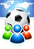 Soccer Ball with User Group and World Map Royalty Free Stock Image