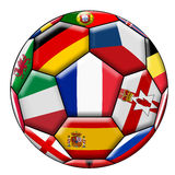 Soccer ball with various flags. Soccer ball on a white background with flags of European countries Stock Photo