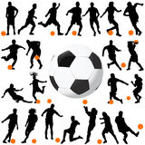 Soccer and ball vector. Soccer player and ball vector Royalty Free Stock Image