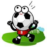 Soccer ball mascot cheering Royalty Free Stock Photos