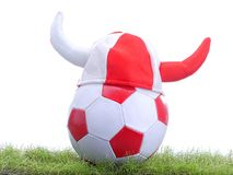 Soccer ball and Viking;s cap Royalty Free Stock Photography