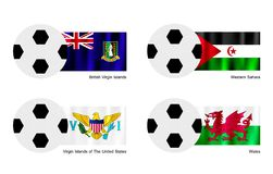 Soccer Ball with Virgin Islands, Western Sahara an Stock Photography