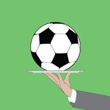 Soccer ball on the waiter platter. This is file of EPS10 format Royalty Free Stock Images