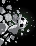 Soccer ball and the wall Royalty Free Stock Photo