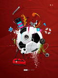 Soccer ball on the wall, graffiti Stock Images