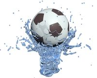 Soccer ball. In the water jet Stock Photography